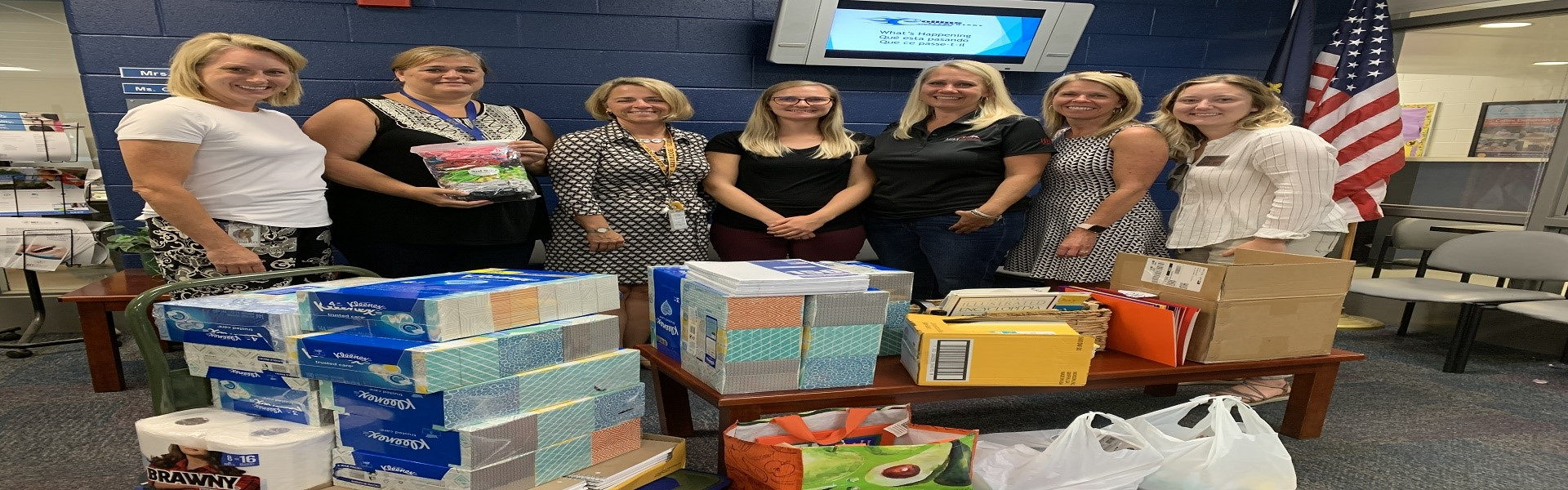 Huff Realty ROCKS Collins with school supplies!!