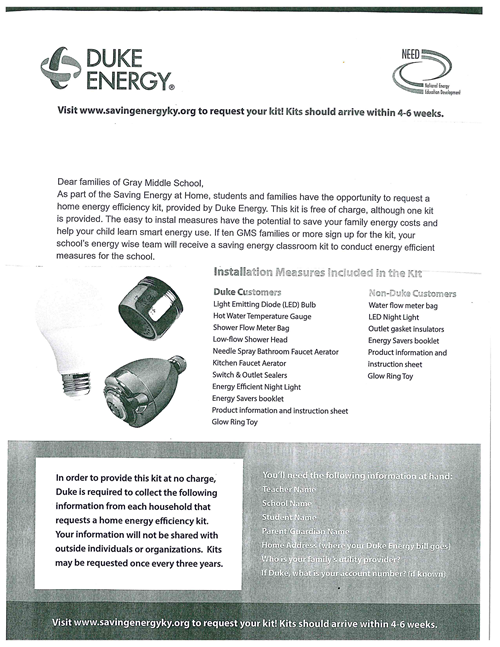 Home Energy Efficiency Kits From Duke Energy Gray Middle School