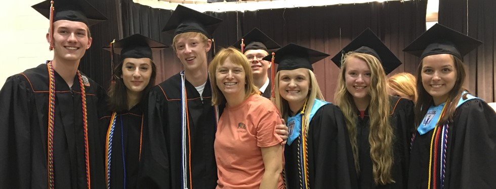 Mrs. Heather Jones - with her previous students (Ryle High School Honorary Diplomas)