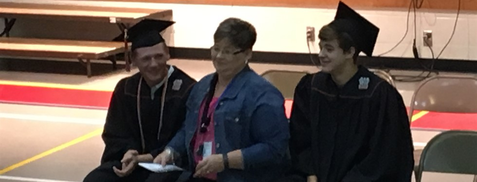 Mrs. Dawn Padgett - with her previous students (Ryle High School Honorary Diplomas)