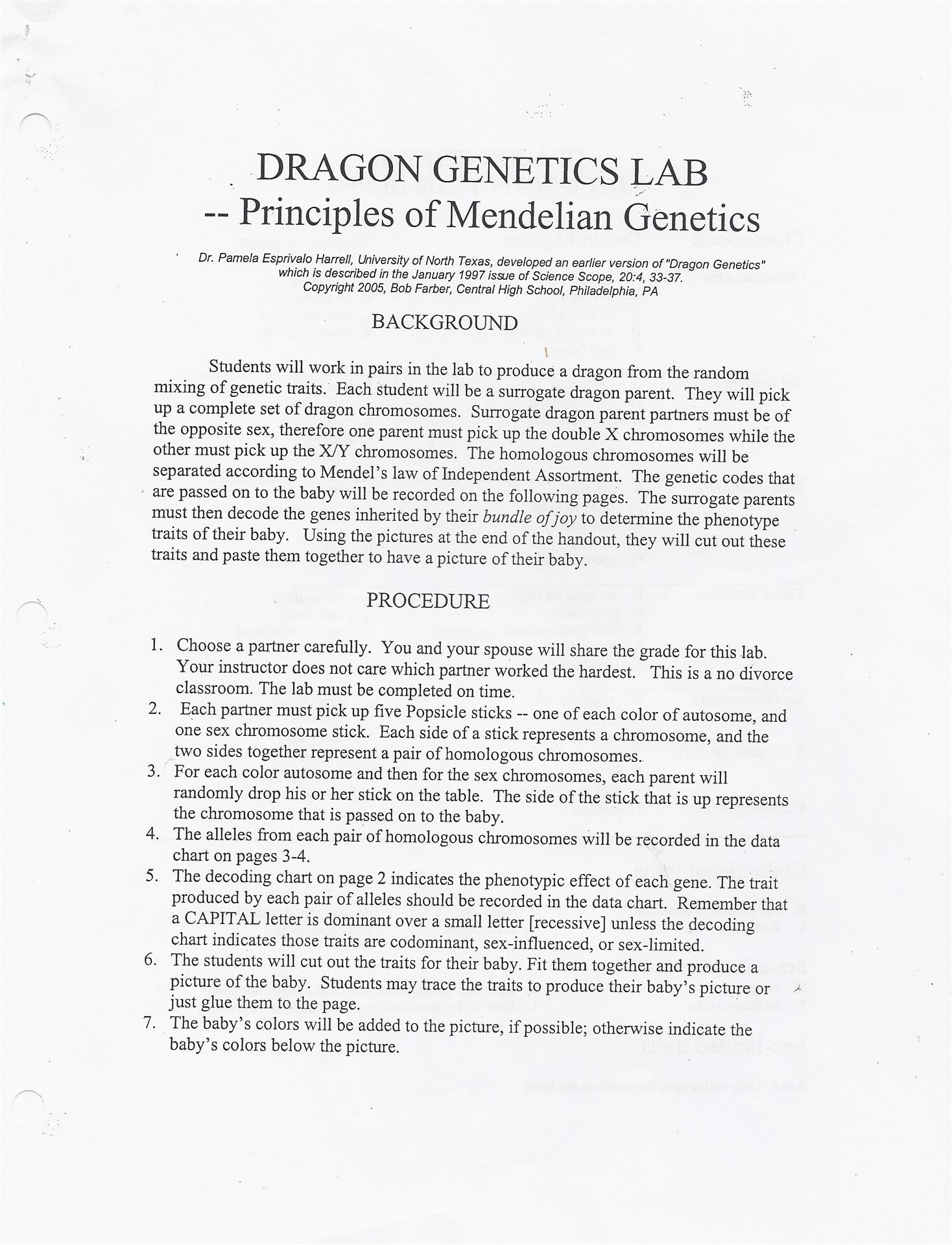 Conner Middle School – Dragon Genetics Worksheet